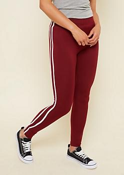 Burgundy High Waisted Varsity Striped Super Soft Leggings