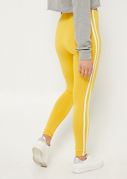 Dark Yellow High Waist Varsity Stripe Leggings
