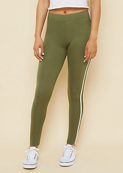 Olive High Waisted Side Striped Super Soft Leggings