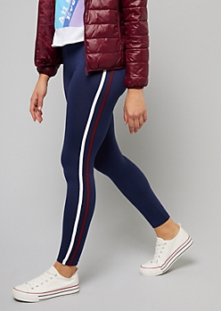 Navy Side Striped Super Soft Leggings