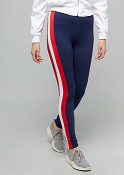 Navy High Waisted Colorblock Striped Super Soft Leggings