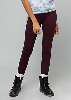 Purple High Waisted Colorblock Striped Super Soft Leggings