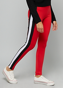 Red High Waisted Colorblock Striped Super Soft Leggings