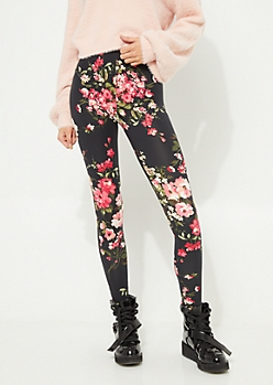 Black Background Blush Floral Bunch Soft Brushed Leggings