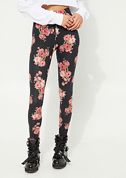 Olive Floral Bunch Black Background Soft Brushed Leggings