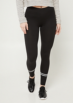 Black High Waisted Athletic Stripe Leggings