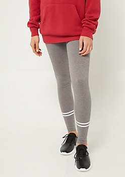 Heather Gray High Waisted Athletic Stripe Leggings