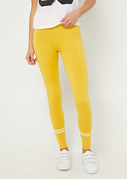 Yellow High Waisted Athletic Stripe Leggings