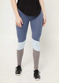 Blue High Rise Colorblock Leggings