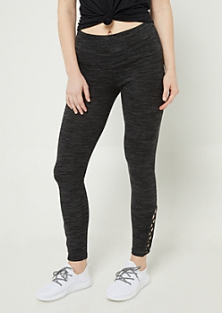 Black Space Dye High Waisted Leggings