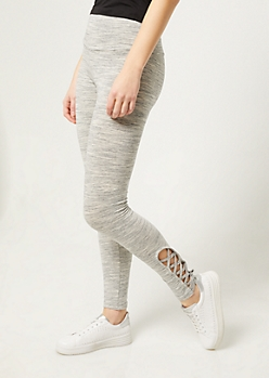 Gray Space Dye High Waisted Leggings