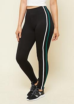 Green Multi Striped Super Soft Leggings