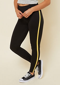Bright Yellow Side Striped High Waisted Leggings