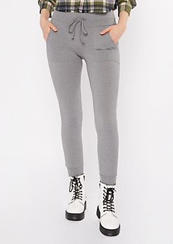Heather Gray Drawstring Waist Jogger Leggings