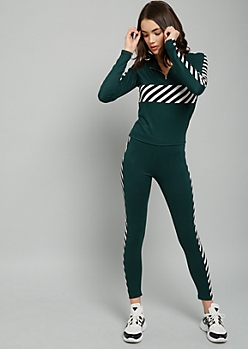 Green Striped Super Soft High Waisted Leggings