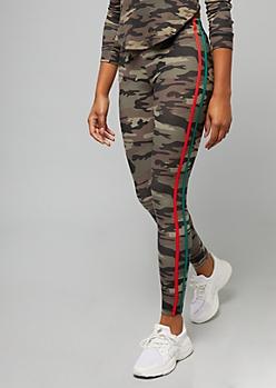Camo Print Side Striped Super Soft Mid Rise Leggings