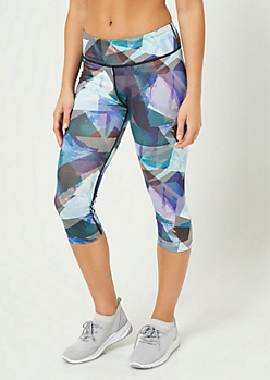 Striped Triangle Print Activewear Cropped Leggings