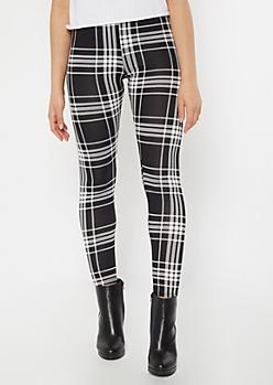 Black Plaid Print Super Soft Leggings
