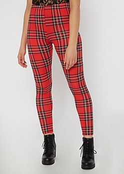 Red Plaid Print Super Soft Leggings