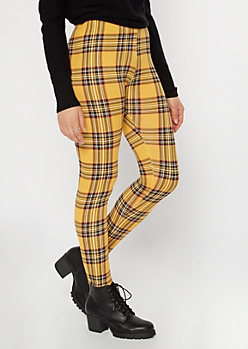 Mustard Plaid Print Super Soft Leggings