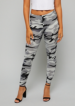 Gray Camo Print Soft Knit Leggings