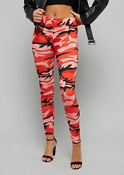 Red Camo Print Soft Knit Leggings