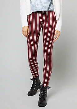 Burgundy Vertical Striped Leggings
