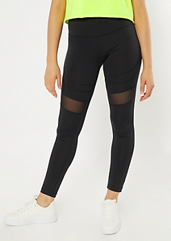 Black Mesh Striped Leggings