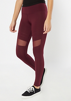 Burgundy Mesh Panel Leggings