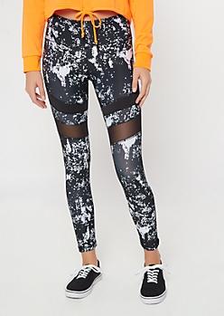 Black Speckle Print Striped Mesh Leggings