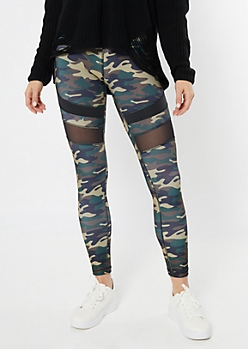 Dark Camo Print Mesh Striped Leggings