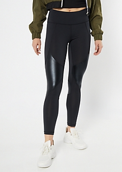 Black Faux Leather Panel Leggings