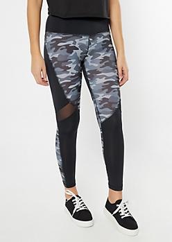 Gray Camo Print Colorblock Mesh Leggings