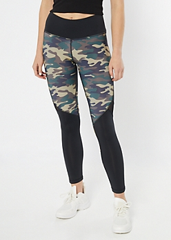 Dark Camo Print Split Colorblock Mesh Leggings