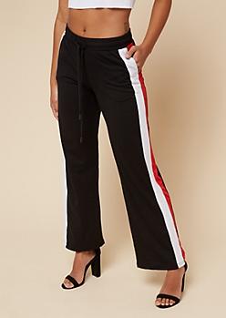 Black Varsity Striped Pattern Flared Track Pants