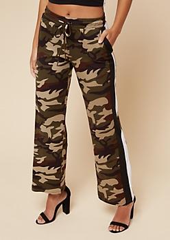 Camo Print Varsity Striped Pattern Flared Track Pants