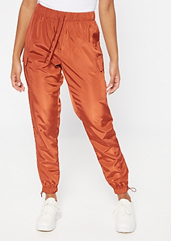Burnt Orange Cargo Pocket Nylon Joggers