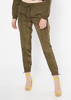 Olive Cargo Pocket Nylon Joggers
