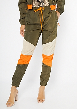 Olive Colorblock Drawstring Joggers