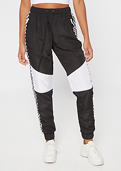 Black Checkered Print Colorblock Nylon Joggers