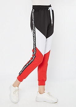 Red Hustle Side Striped Colorblock Joggers