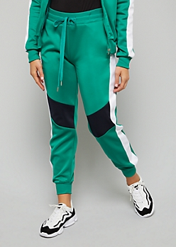 Green Colorblock Side Striped Track Joggers