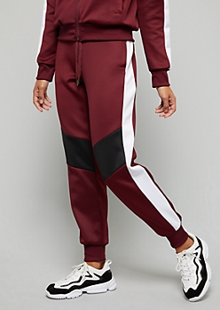 Burgundy Colorblock Side Striped Track Joggers
