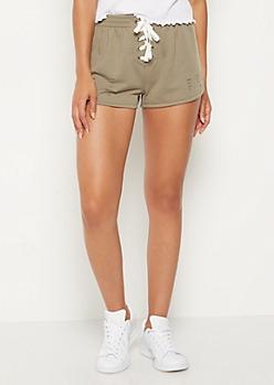 Olive Slashed Lace Up Dolphin Shorts