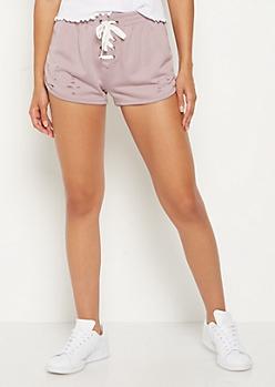 Light Purple Slashed Lace Up Dolphin Shorts