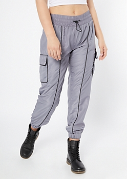 Gray Cargo Pocket Nylon Joggers