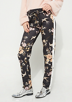 Black Floral Athletic Stripe Snap Pants