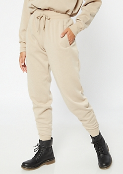 Sand High Waisted Boyfriend Joggers