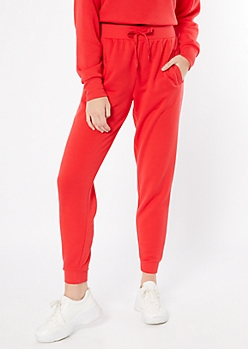Red High Waisted Boyfriend Joggers