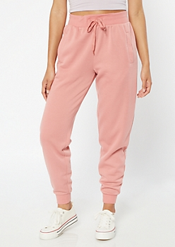 Pink High Waisted Boyfriend Joggers